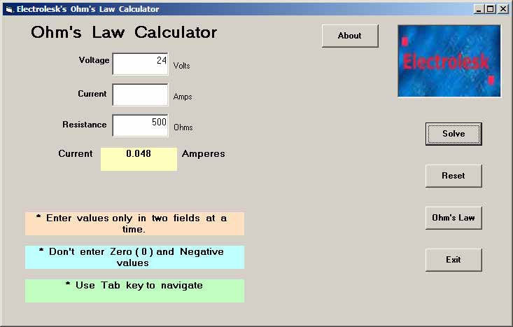 Free Download Page for Ohm\u0027s Law Formula Calculator and the Formula