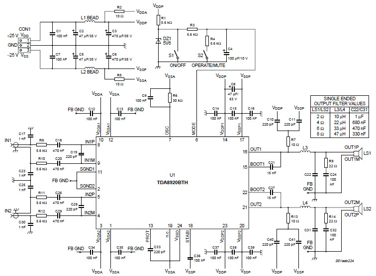 200 watts amplifier circuit electronic project using TDA8920BTH