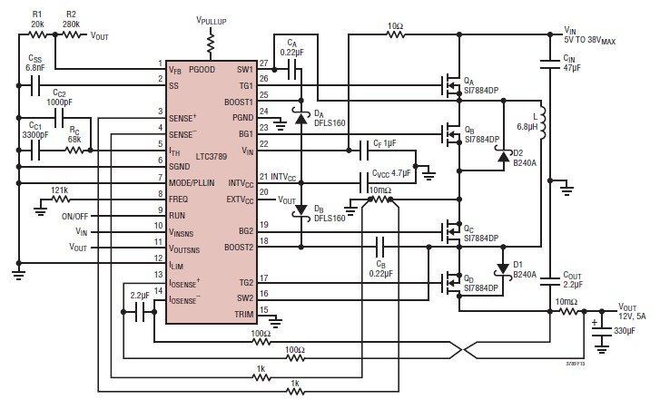 5A 12 volt switching power supply circuit design using LTC3789
