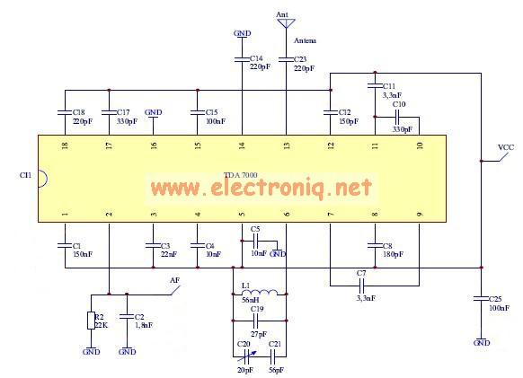 TDA7000 fm radio circuit design electronic project