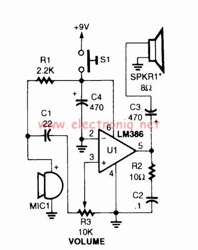 low power audio amplifier circuit diagram using lm386