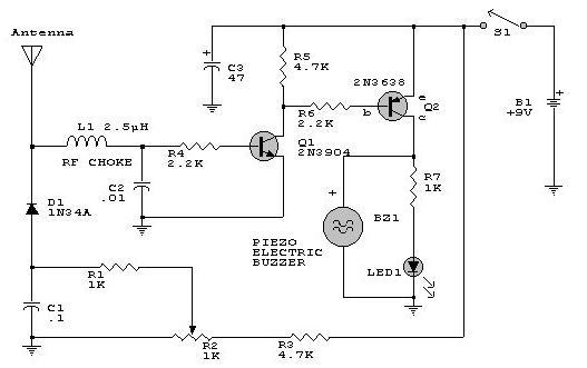 1000 Watts Amplifier Circuit Diagrams Rf Detector Circuit Electronic Project Using Transistors