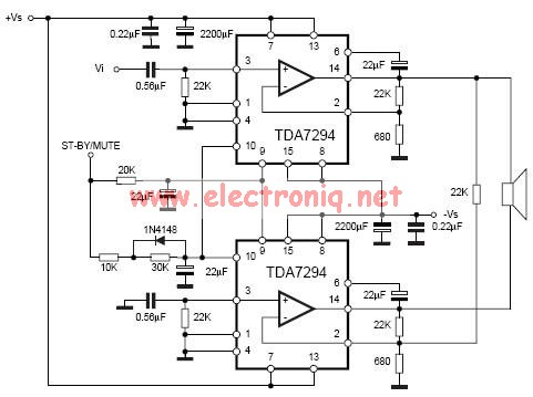 TDA7294 bridge power amplifier circuit diagram electronic project
