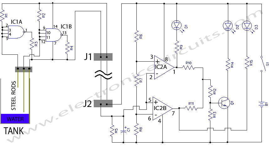 water tank level meter sensor circuit diagram