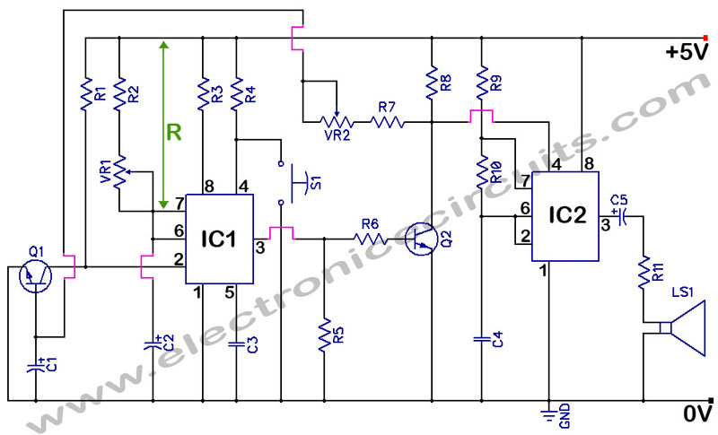 555 Timer With Audio Alarm Circuit Electronic Circuits