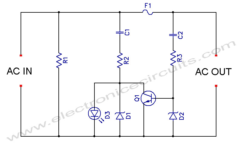 circuit diagrams 4u ac powered led indicator