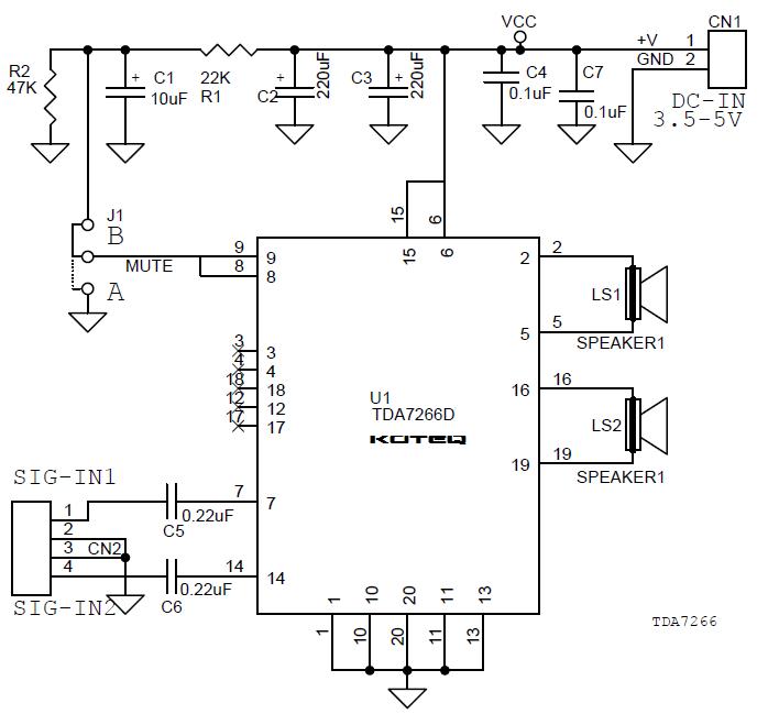 3w audio amplifier circuit using tda7057q
