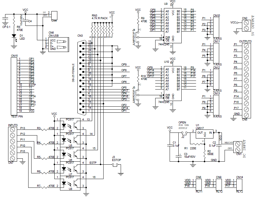 circuit diagram of the parallel port board