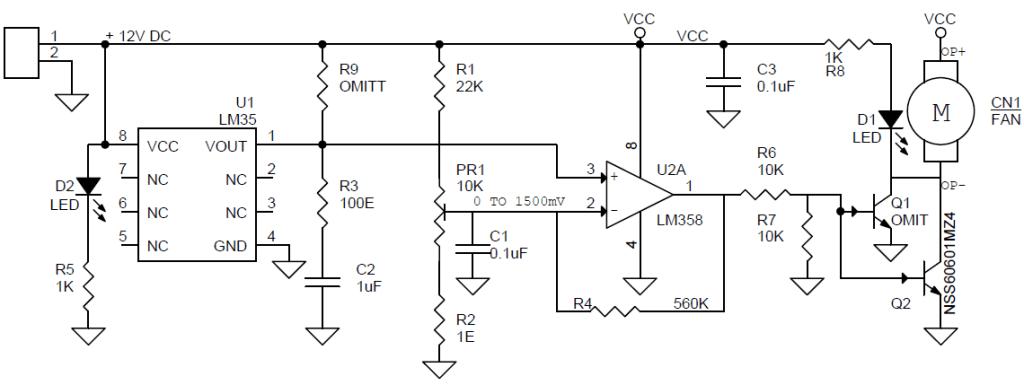 fan control temperature using sensor lm35 circuit diagram