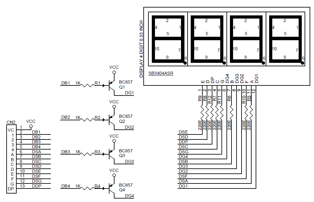how to control a 4digit 7segment led display with an arduino