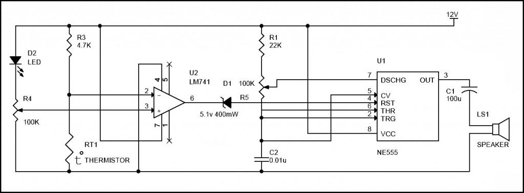 circuit diagram of fire alarm using lm741