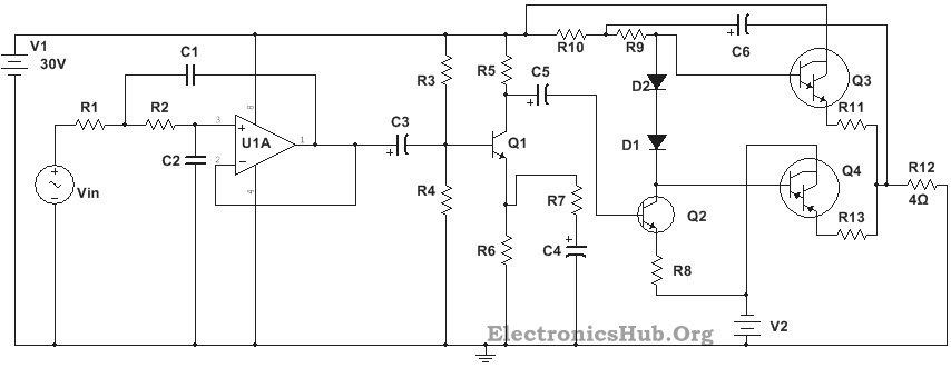 100W Subwoofer Amplifier Circuit Diagram, Working and Applications