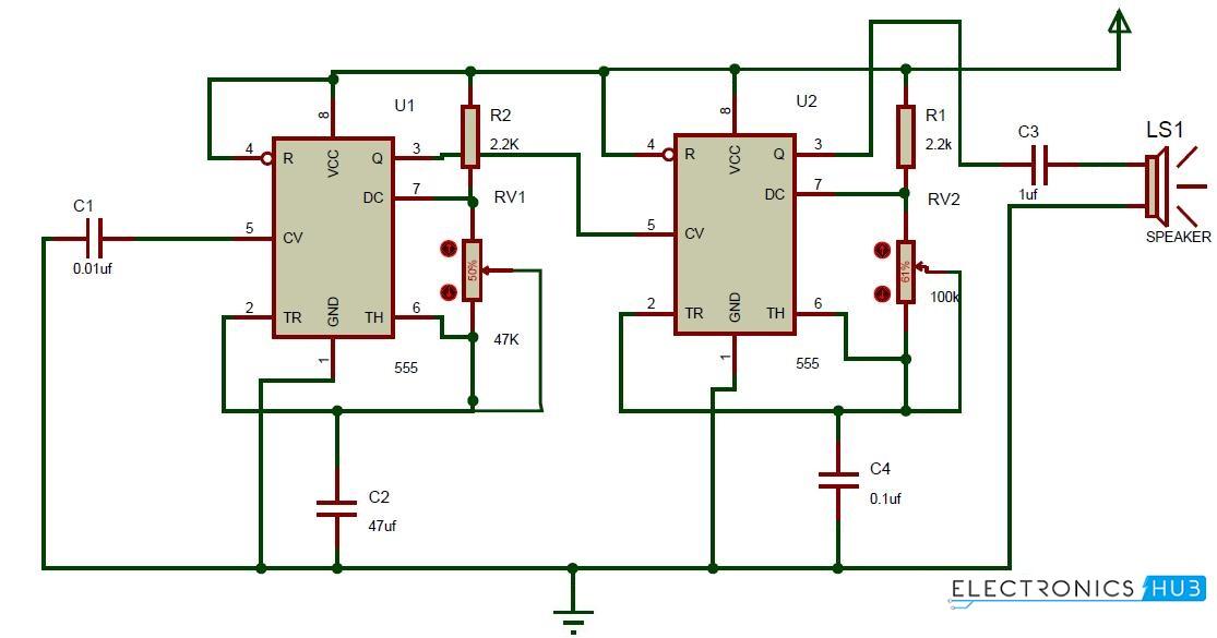 Ding Dong Sound Generator Door Bell Circuit using 555 Timer