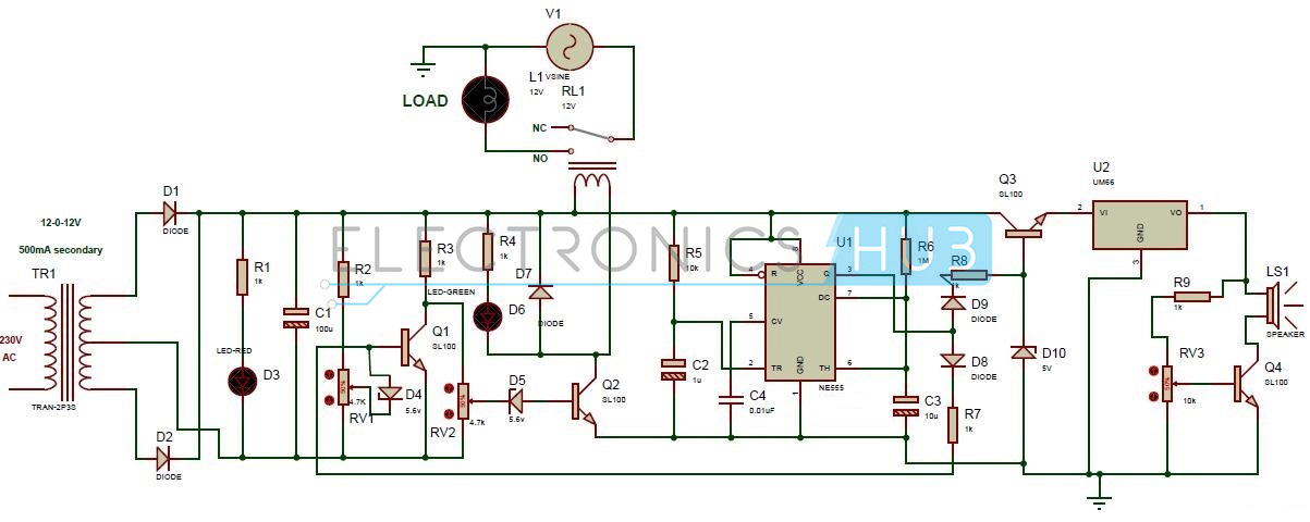 110v Light Sensor Wiring Diagram High And Low Voltage Cutoff With Delay And Alarm Circuit