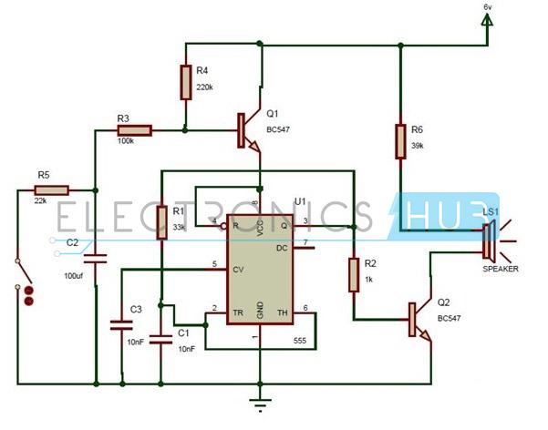Wailing Siren Circuit using 555 Timer IC