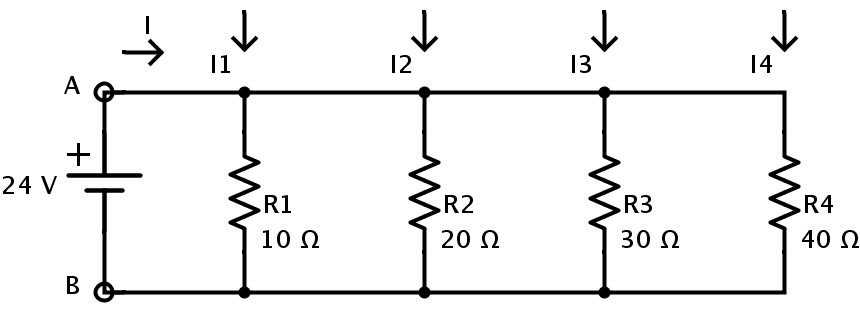 what is the total current current and voltage across each resistances