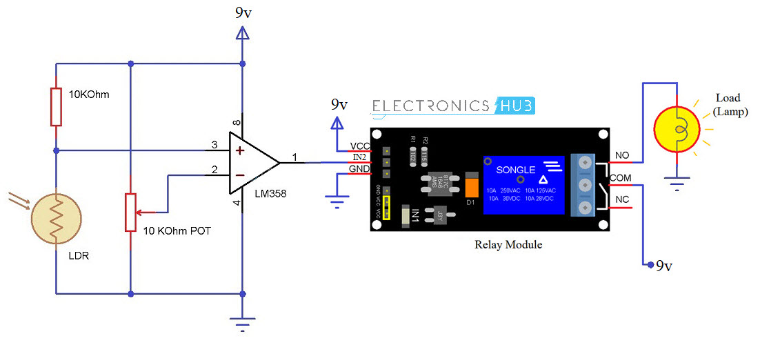 Automatic Street Light Controller Using Relays and LDR