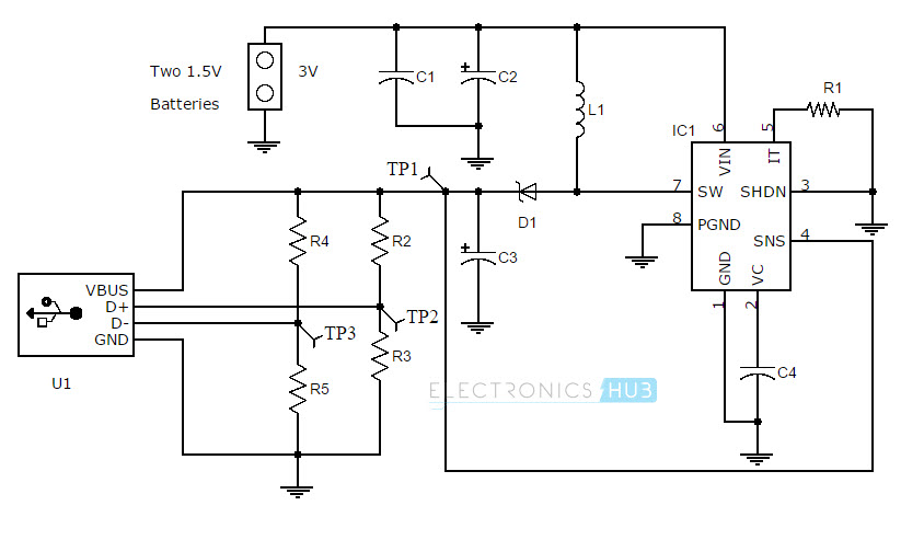 usb aa battery charger circuit diagram
