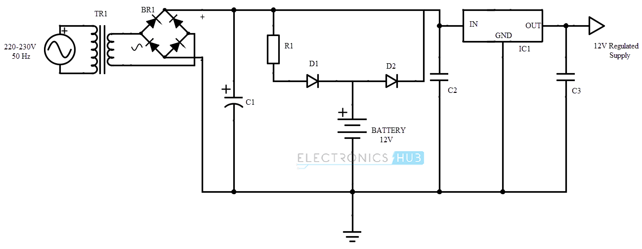 basic circuit diagram of ups