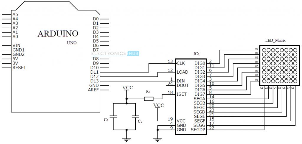 dot matrix led display schematic