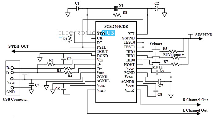 usb mp3 player circuit diagram
