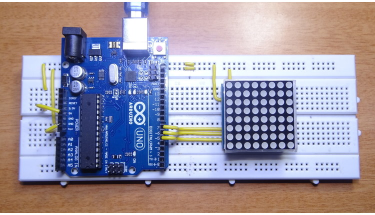 Arduino 8x8 LED Matrix Interface MAX7219 IC