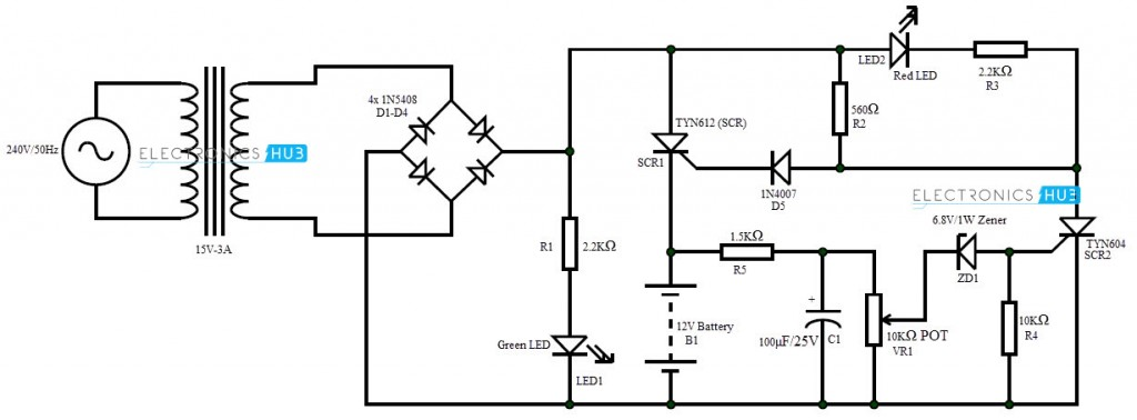6v battery ups circuit diagram automatic