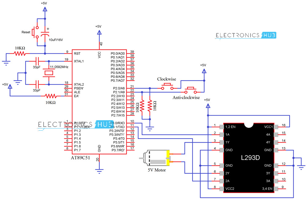 Interfacing DC Motor with 8051 Microcontroller using L293D