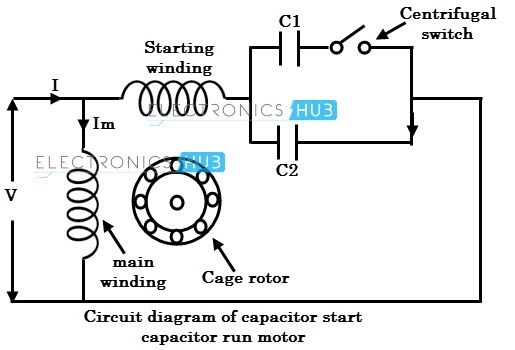 circuit diagram of a capacitor start motor