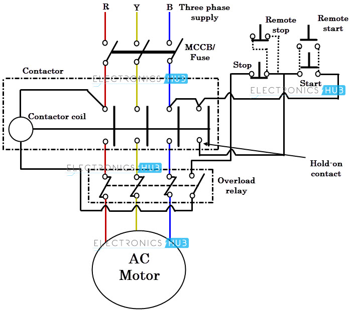 diagram of motor controller with thermal type of overload relay