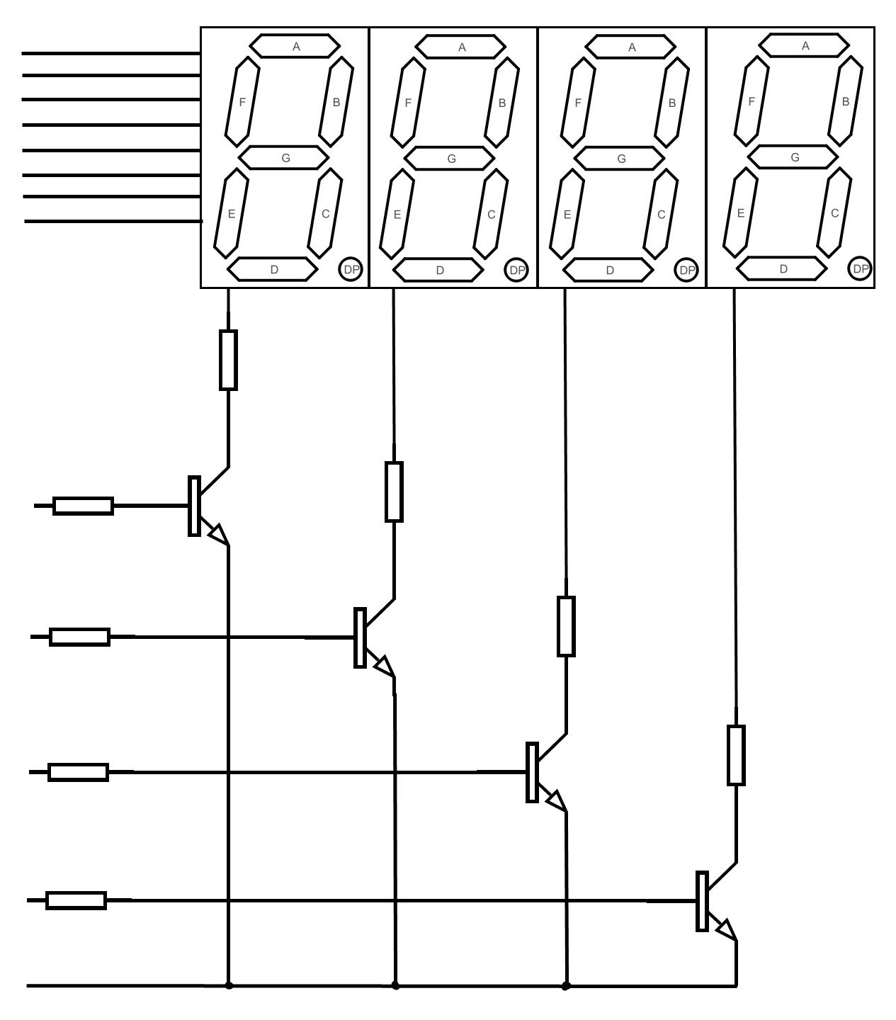 circuit diagram for the 7segment display circuit