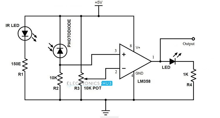 car parking sensor circuit using infrared led