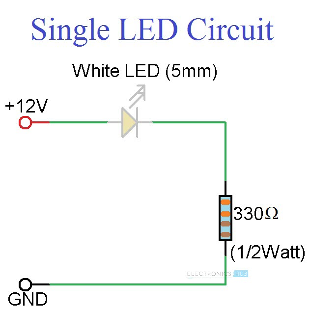 Simple LED Circuits Single LED, Series LEDs and Parallel LEDs