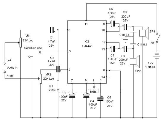 LA4440 audio amplifier circuit diagram electronic project