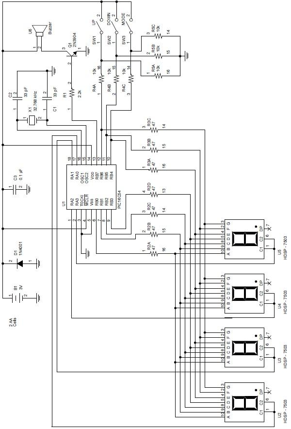 digital clock and temperature block circuit diagram schematic