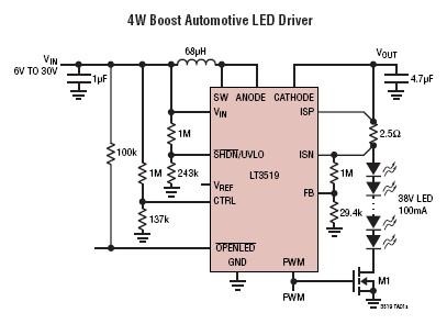 DC led driver circuit using LT3519