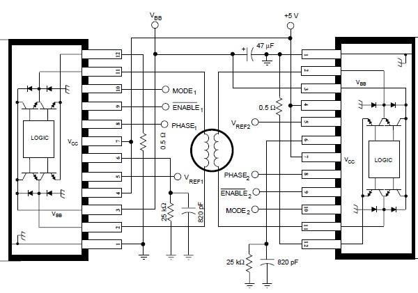a3952s bipolar stepper motor driver schematic circuit diagram