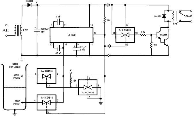 Lm1830 Fluid Liquid Water Level Control Circuit Schematic Diagram