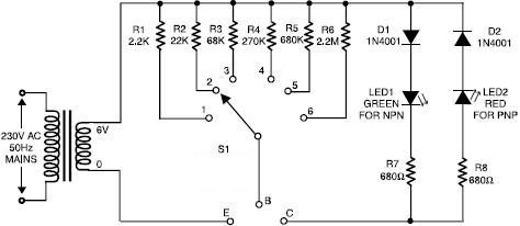transistor tester circuit circuit diagram