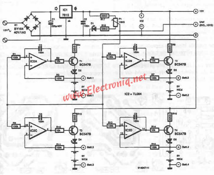 9v nicd battery charger circuit diagram