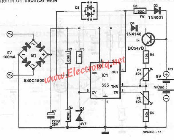 circuit diagram of 555 timer