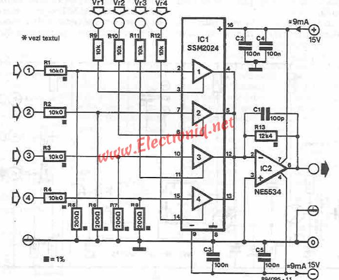 stereo mixer 4 input by lf353