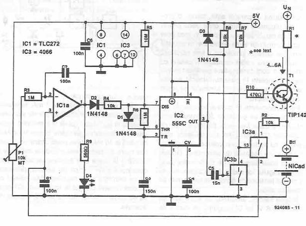 Fast charger for NiCd batteries using 555 timer