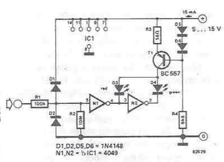 TTL and CMOS signals tester circuit