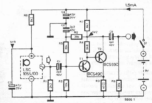 Electret microphone amplifier circuit schematic