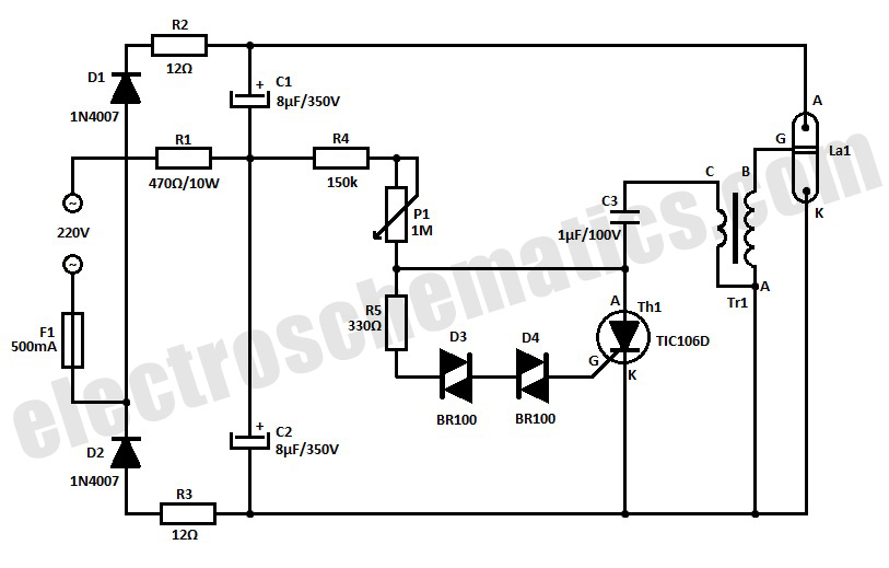 schematic of basic strobe circuit