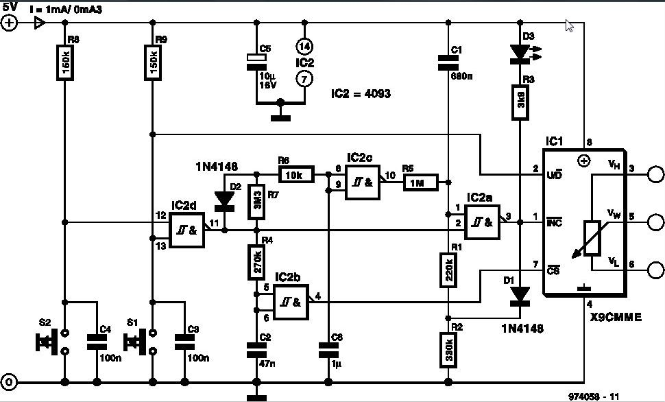 electronic potentiometer circuit schematic