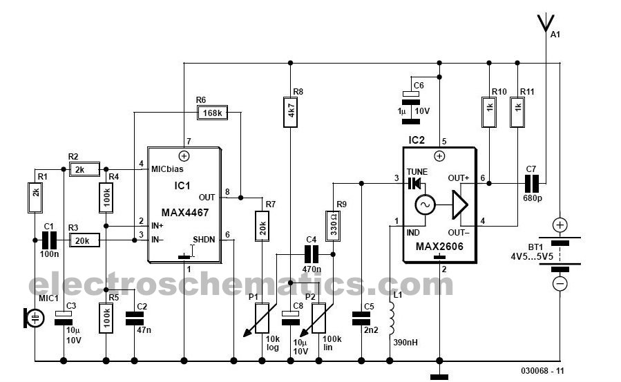 fm wireless microphone circuit diagram
