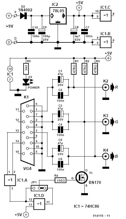composite video to vga schematic circuit