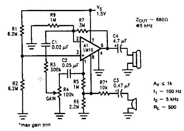 low voltage microphone preamplifier circuit